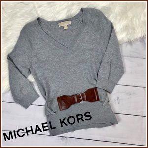 Michael Kors Belted V Neck Sweater